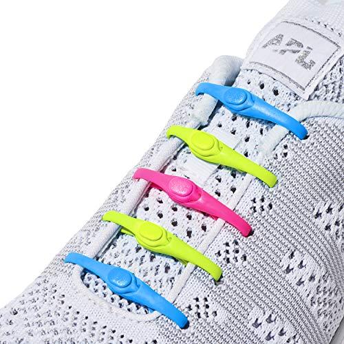 HICKIES 2.0 - ヒッキーズ2.0 フリーサイズ 結ばない伸縮素材の靴ひも - 蛍光マルチカラー (14 ヒッキーズ靴ひも、あらゆる靴のサイズに対応)