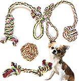 SMURU® Hundespielzeug im Set, Kauspielzeug 4-teilig, aus natürlicher Baumwolle (geruchlos & ungiftig) Hundespielzeug geeignet für Welpen, Junghunde und ausgewachsene Hunde.