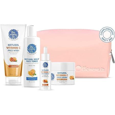 The Moms Co. Natural Brightening Vitamin C Complete Face Care Routine Kit l Face Wash I Toner I Serum I Cream l Free Vanity Bag I 280 gms