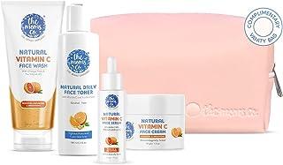 The Moms Co. Natural Brightening Vitamin C Complete Face Care Routine Kit l Face Wash I Toner I Serum I Cream l Free Vanit...