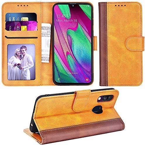 Adicase Galaxy A40 Hülle Leder Wallet Tasche Flip Hülle Handyhülle Schutzhülle für Samsung Galaxy A40 (Braun Streifen)