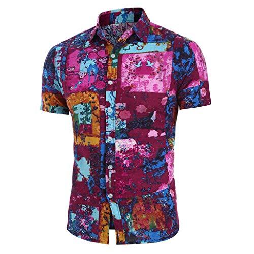 Hawaiihemd Herren 3D Drucken Lässig Button Down Strandurlaub Hemd Aloha Kurzarm Hawaii Hemd Kurzarm Urlaub Hemd Freizeit Reise Hemd Party Hemd