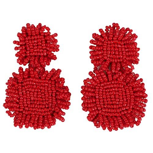 WYXIN Orecchini in Tessitura, esagerato Stile Europeo e Americano Grande Perline di Riso Perline, semplici e atmosferici Quadrati Bohémien Dichiarazione Borchie per Le Donne per Le Donne,Rosso