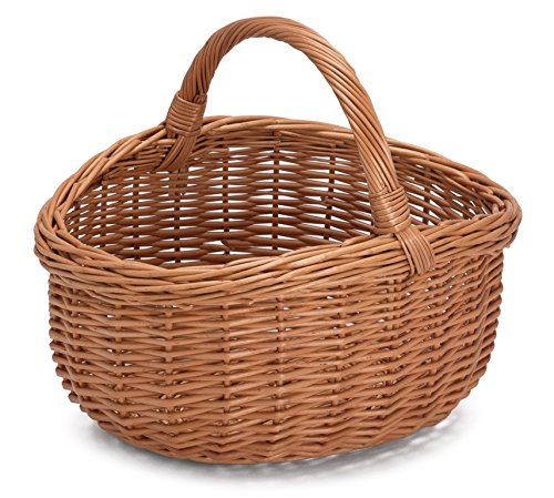 Prestige Wicker Willow Basket with Handle, Natural, 40x36x36 cm
