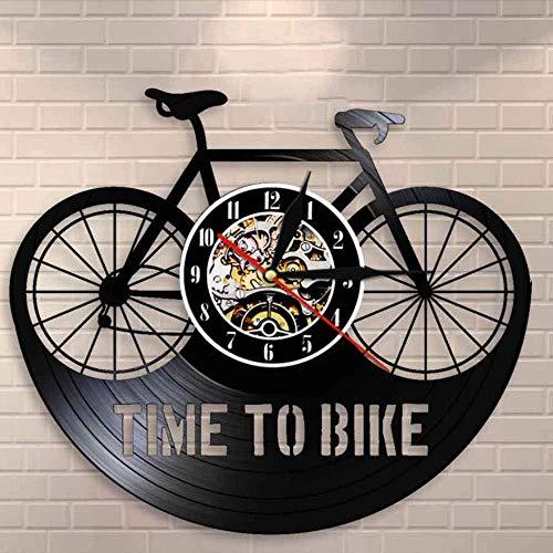 suwhao tijd om fiets Bikers Inspiratie Quote Home Decor Mountainbike Muur Klok Oude Tijd Fietser Retro Vinyl Record Wandklok 30X30Cm