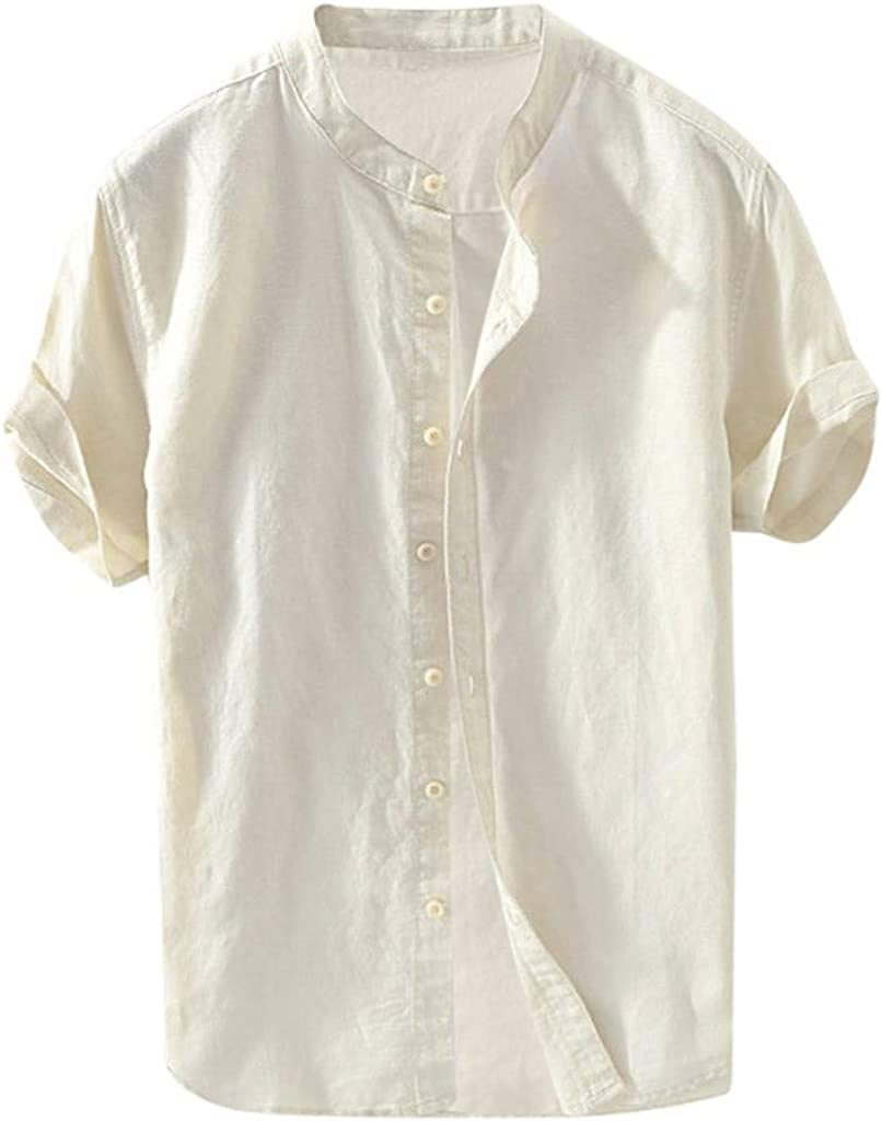 Men's Vintage Round Collar Chinese Style Henley Shirts Short Sleeve Tops Slim-Fit Beach Linen Shirt Summer Tees