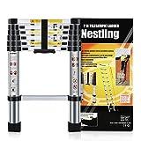 Nestling® Teleskopleiter 2M Alu Leiter Ausziehbar Haushaltsleiter Teleskopleiter Aluminium Klappleiter Ausziehleiter Mehrzweckleiter -Maximale Belastbarkeit 150 kg