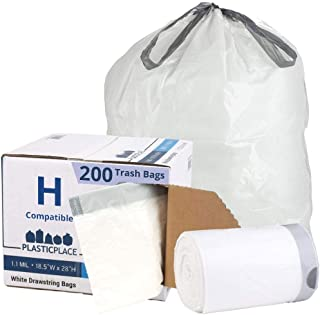 Plasticplace Custom Fit Trash Bags │ simplehuman (x) Code H Compatible (200 Count) │ White Drawstring Garbage Liners 8-9 G...