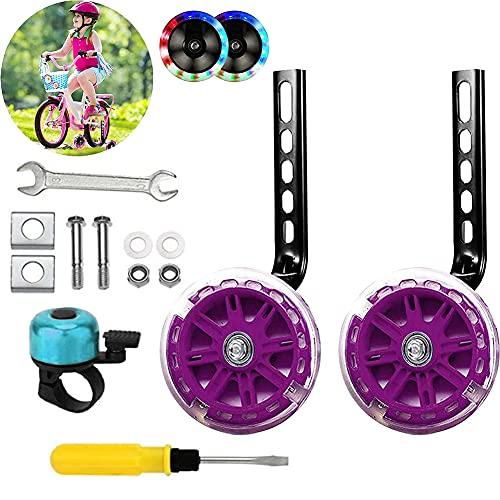 Ambolio Fahrrad Stützräder Kinder,Stützräder für Kinderfahrrad,Kinderfahrrad Stützräder,Verstellbare Fahrradstabilisatoren für 12-20 Zoll,für Kinder Fahrrad Stabilisator Stützräder.(Glitzer lila)