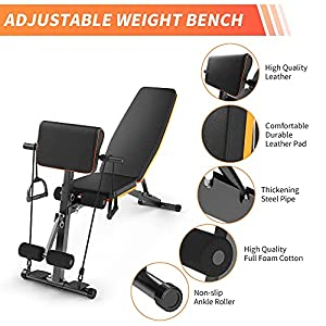 Multi-Functional Workout Bench, Adjustable Weight Bench, All-in-One Strength TrainingBench for Home Gym Flat/Incline/Decline Exercise Bench with Two Elastic Ropes Up to 550LBS -2021 Version