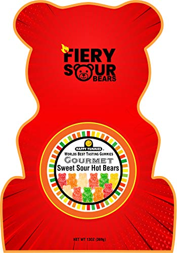 Happy Yummies Worlds Best Tasting Gourmet Gummies Fiery Sour Bears 13oz