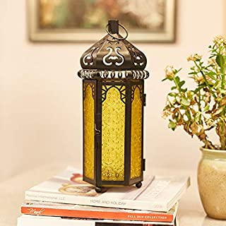 Ninganju Yellow Glasses Moroccan Style Candle Lantern Decorative for Patio, Indoors/Outdoors, Events, Parties and Weddings...