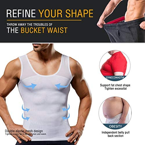 LaLaAreal Hombres adelgazantes Body Shaper Chaleco Camisa compresión Pecho Abdomen Slim Tank Top Camiseta
