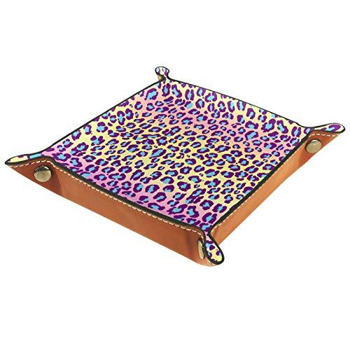 Bandeja de Valet de Cuero, Bandeja de Dados, Soporte Cuadrado Plegable, Placa organizadora de tocador para Cambiar Moneda, patrón de Piel de Jaguar, Leopardo, Manchas exóticas Salvajes