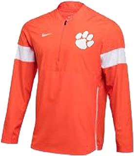 Nike Mens Clemson Tigers Lightweight Coaches Jacket Quarter-Zip Orange/White Size Medium