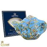 CARMANI - Elegant Glass Tea Bag Holder Dish in Teapot Shape with 'Almond Blossom' by Vincent Van Gogh