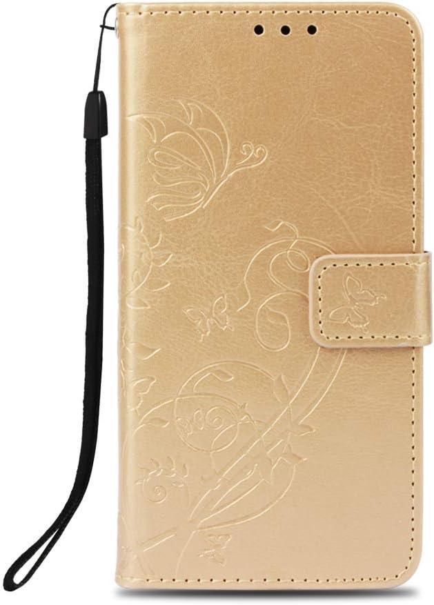 Unisnug Fundas y Carcasas Protector para Xiaomi Mi A2 Lite,Funda Dura Cover Cartera[Soporte de Funcione] Carcasa Cuero-Dorado