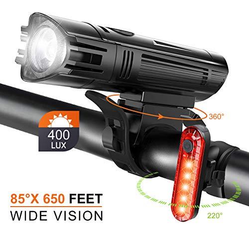 Fahrrad Licht Led Set StVZO Fahrradlicht Led Set USB,Fahrradlict Vorne Led USB Farradbeleuchtung Aufladbar Wasserdicht Fahrradlampe Mit Akku Frontlicht Und Rücklicht IP3X Staubdicht Blendschutz 400LUX