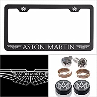UFRAME Fit Aston Martin Laser Engraved License Plate Frame Made of Industrial Grade Powder Coated Black Matte Black Stainless Steel w/Caps and Accessories