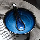 LIAN Japanische Art Keramik Suppe Löffel Retro Ramen Schüssel Suppe Löffel Reis Löffel Kreative Löffel Blau - 3