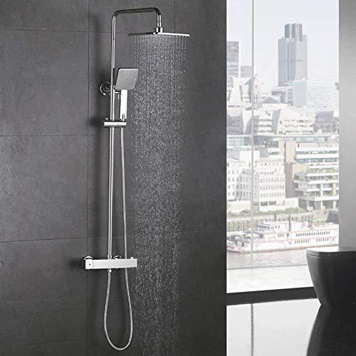 YDYDYD Duschsystem mit Thermostat Regendusche Duschset Duschsäule Dusche Duscharmatur Brausethermostat Shower inkl. Verstellbar Duschstange Kopfbrause Handbrause