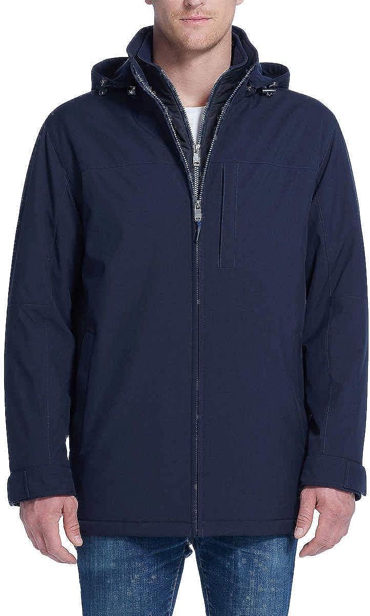 Weatherproof Ultra Tech Mens Jacket Winter Coat for Men Winter Coat Rain Jacket for Men with Fleece Bib and Removable Hood (Navy Htr, Medium)