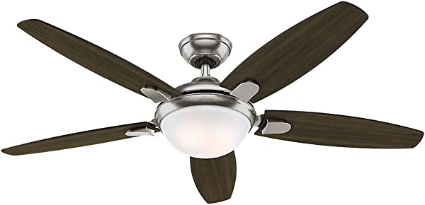 Hunter Indoor Ceiling Fan With Light And Remote Control Contempo 52 Inch Brushed Nickel 59013