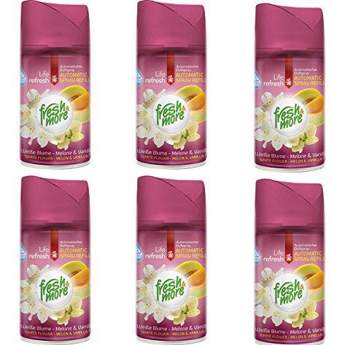 6x Fresh&More Weiße Blume-Melone & Vanille Für Automatische Duftspender, 250ml