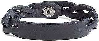 Mens Black Braided Leather Snap-Close Bracelet Lucky Brand