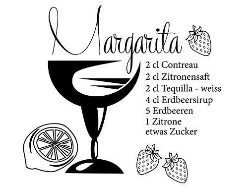 Wandtattoo-bilder® Wandtattoo Rezepte Cocktailrezept Margarita 2 Küchendeko Küchenaufkleber Wandsticker Wandbilder Farbe Grün, Größe 60x53