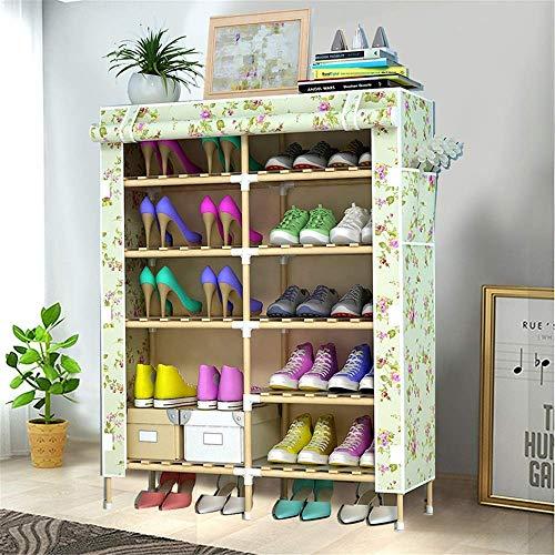 Decoración de Muebles Caja de Zapatos Plegable Caja de zapatería Multi-Capa Simple Shoe Rack Montaje de Almacenamiento Tela a Prueba de Polvo Madera sólida Oxford Zapatos de Tela de gabinete Economía
