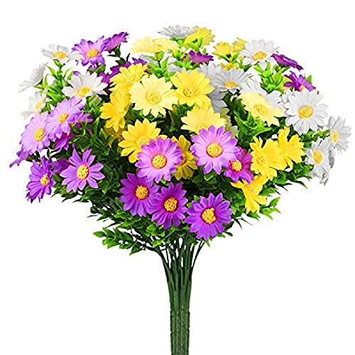 YYHMKB Flores Artificiales Margarita de Seda, 6 Paquetes de Flores Falsas al Aire Libre para el hogar,Caja de Ventana para Porche de jardín Colgante (Amarillo, Morado, Blanco)