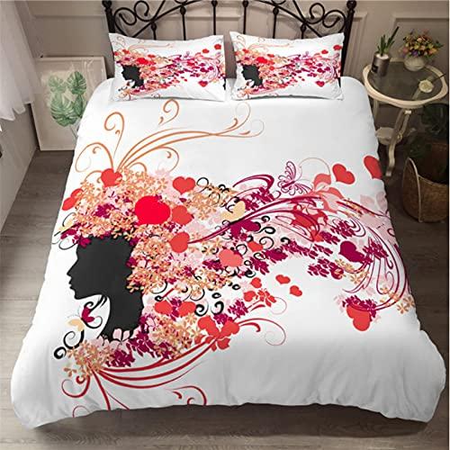 ysldtty Juego De Ropa De Cama De Mariposa De Hadas, Funda Nórdica De Mujer Hermosa, Colcha De Lujo De Moda B-0354E 135CM x 200CM with 2 Pice Pillowcase 50CM x 75CM