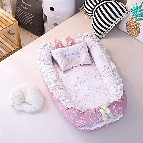 LJYY Baby Nest Cuddly Nest Cuna de Viaje Cuna de Viaje Cama Plegable 100% algodón Colchón de bebé extraíble 90 x 55 cm Rosafarbener Elefant