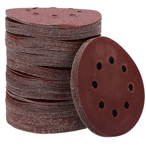 ZILMAKO 125pcs 125mm 5' 8 Hole Mixed Grit 60/80/100/120 /240 Sanding Discs Hook Loop Sandpaper Round Sandpaper Disk Sand Sheet