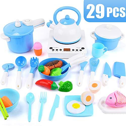 Sotodik 29PCS Pretend Küche Kochspielzeug Set Simulierter Induktionsherd, Töpfe, Pfannen, Utensilien, Kochgeschirr Spielset Schneidspielzeug, Lernspielzeug für Baby Kleinkind Mädchen Jungen (Blau)