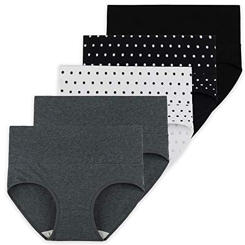 INNERSY Unterhosen Damen Baumwolle Bauch Weg Unterwäsche Punktdruck 5er Pack (42, Schwarz/Grau/Punkte)