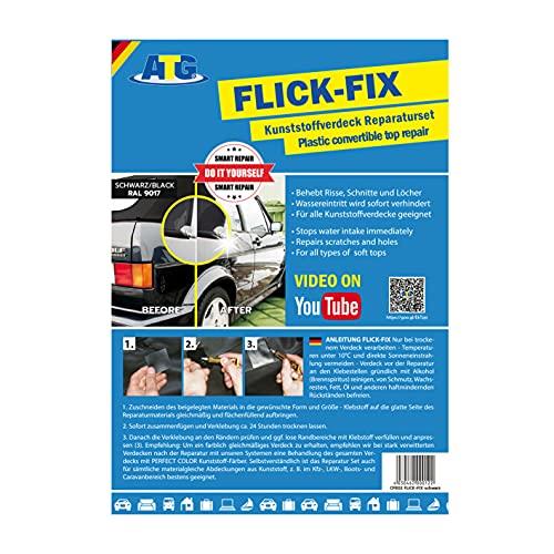 ATG Flick Fix Kit de réparation des nappes de piscine en plastique souple, blanc: réparation de fissures, coupures et trous pour cabriolet, bâches, couvercles en plastique - l'adhésif peut également être traité sous l'eau (par exemple, des bâches souples en PVC) NOIR