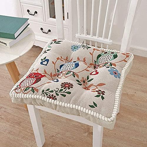 KANGNING Set von 2 Sitzkissen 100% Baumwolle bedeckte Boosterkissen Dicke Sitzpads besonders fest 10 cm (4) Erwachsene Stuhl/Sessel/Gartenstuhl-Blühender Zweig_48x48 cm. Well