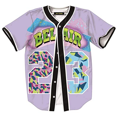 HOP FASHION Womens 90s Bel-Air Party Baseball Jersey Short Sleeve 3D Colorful 23 Print Button Dance Team Uniform Tops Shirts HOPM007-Lavender-XXL