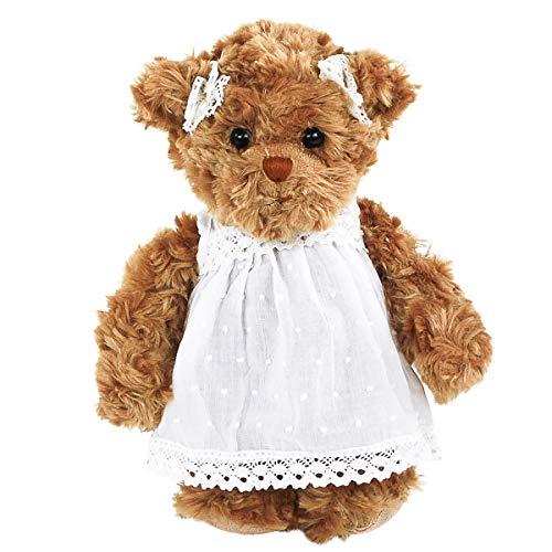 Bukowski Kuscheltier Teddybär Hedvig braun mit weißem Kleid 25 cm Plüschteddybär Plüschtier Kuscheltier Baby Kinder Spielzeug