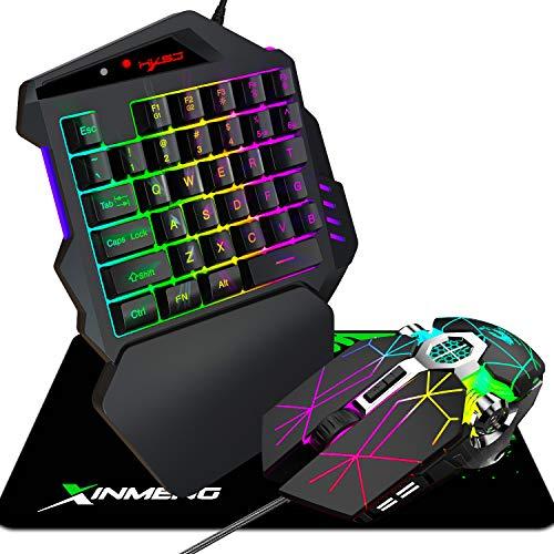 Tastiera da gioco con una mano PS4 Mouse da gioco cablato, tappetino per mouse, mouse da gioco programmabile con mini tastiera da gioco portatile per PS3, PS4, XBOX 360, XBOX one, SWITCH (nero)