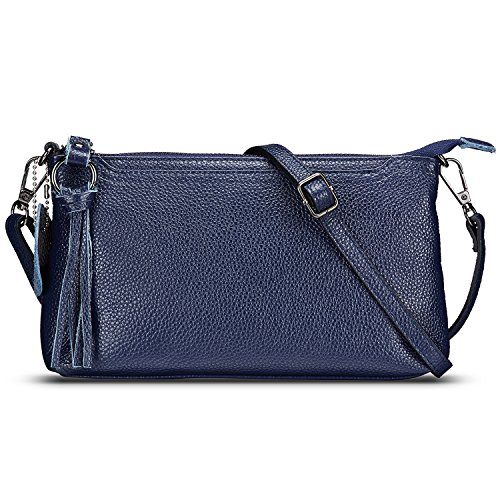 Lecxci Womens Small Leather Crossbody Bag, Zipper Clutch Phone Wallet Purse with [4 Card Slots] for Women (Navy Blue)