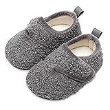 Lisdwde Toddler Girls Slip on Slippers Toddler House Shoe Warm Grey/Velcro 3.5-4.5 Infant=EU20-21