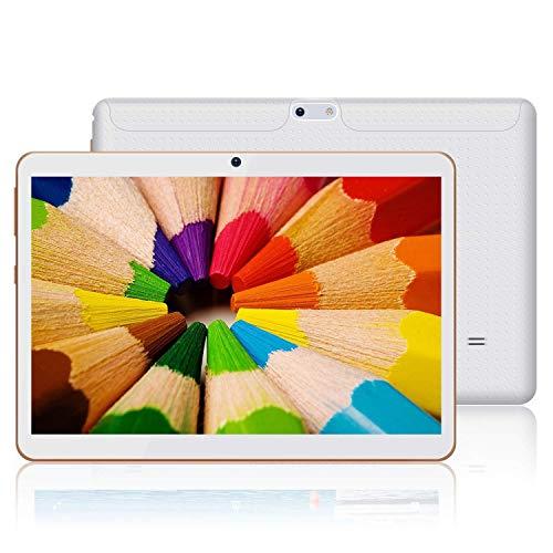 JANWIL Tablet Android 9.0 Touch mit 10 Zoll Quad-Core-RAM 4 GB ROM 64 GB Kamera 5 MP + 8 MP / WLAN / GPS / Typ C / 6000 mAh Akku / Dual-SIM-Karte Lamada 3G Tablet (Weiß)