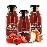 Ursini Salsa de Tomate con Cebolla y Aceite de Oliva Virgen Extra - 250 gr (Paquete de 3 Piezas)