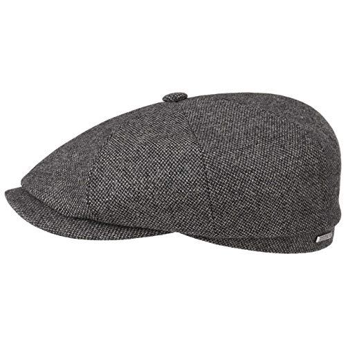 Stetson Hatteras Wool Mix Flatcap Schirmmütze Wollcap Schiebermütze Wintercap Herrencap Herren - Made in The EU mit Schirm, Futter, Futter Herbst-Winter - 57 cm grau