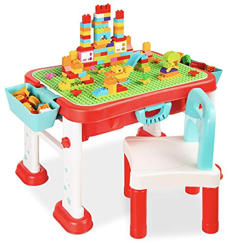 Best Choice Products Kids 8-in-1 Activity Table, Mobile, Collapsible Building Block Station for Toddlers, Indoor & Outdoor with Small & Large Block Compatibility, Dry Erase Easel, Storage, Sandbox