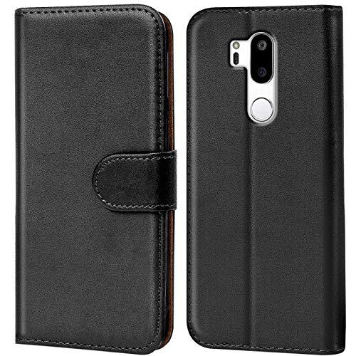 Verco LG G7 Hülle, Handyhülle für LG G7 Tasche PU Leder Flip Hülle Brieftasche - Schwarz