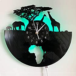 Safari Animals Vinyl Record Wall Clock LED Light 12 Vinyl Clock | South African Animal Wall Clock | Creative Hanging Lamp 7 Color Luminous Wall Clock.